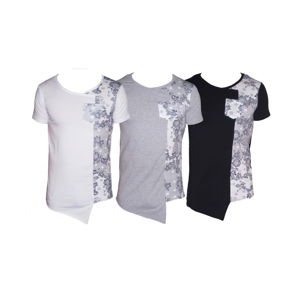 Maglia MWS Ahead mod.INSANE uomo mezza manica t-shirt asimmetrica con stampa fiori be cool