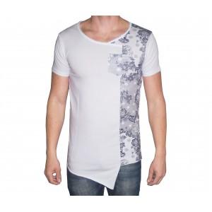 Image of Maglia MWS Ahead mod.INSANE uomo mezza manica t-shirt asimmetrica con stampa fiori be cool 8034583846122