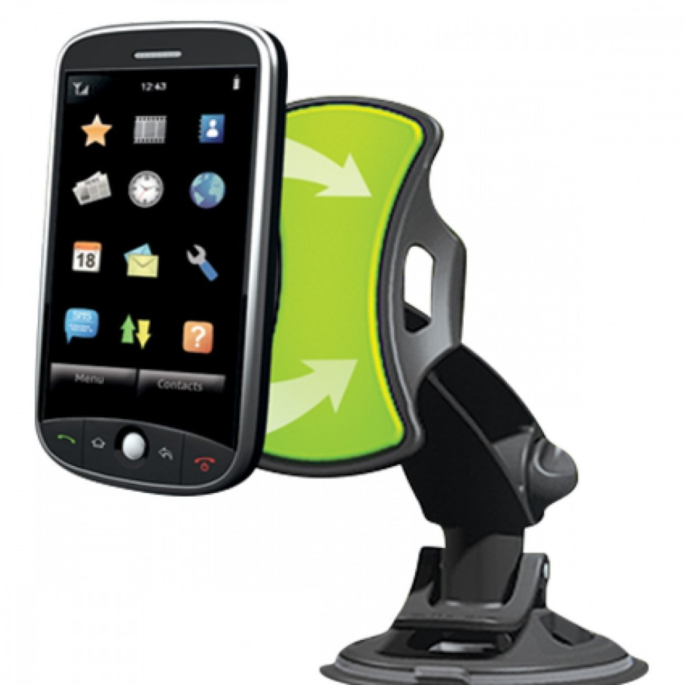 Supporto universale verde da auto smartphone gps a ventosa