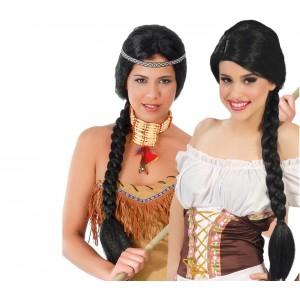 Parrucca da donna 444253 TRECCIA ideale per Carnevale o feste in maschera