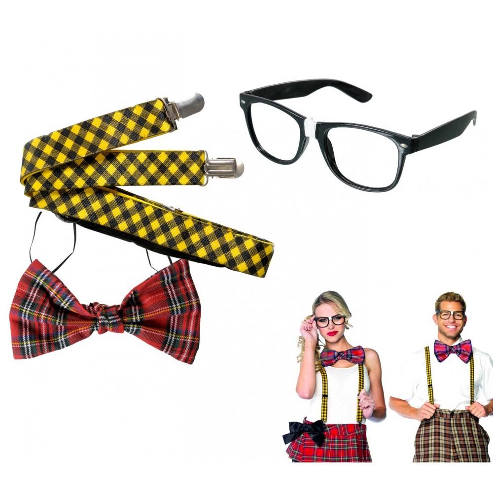 Kit accessori travestimento carnevale o feste a tema 443058 NERD 3 pezzi unisex