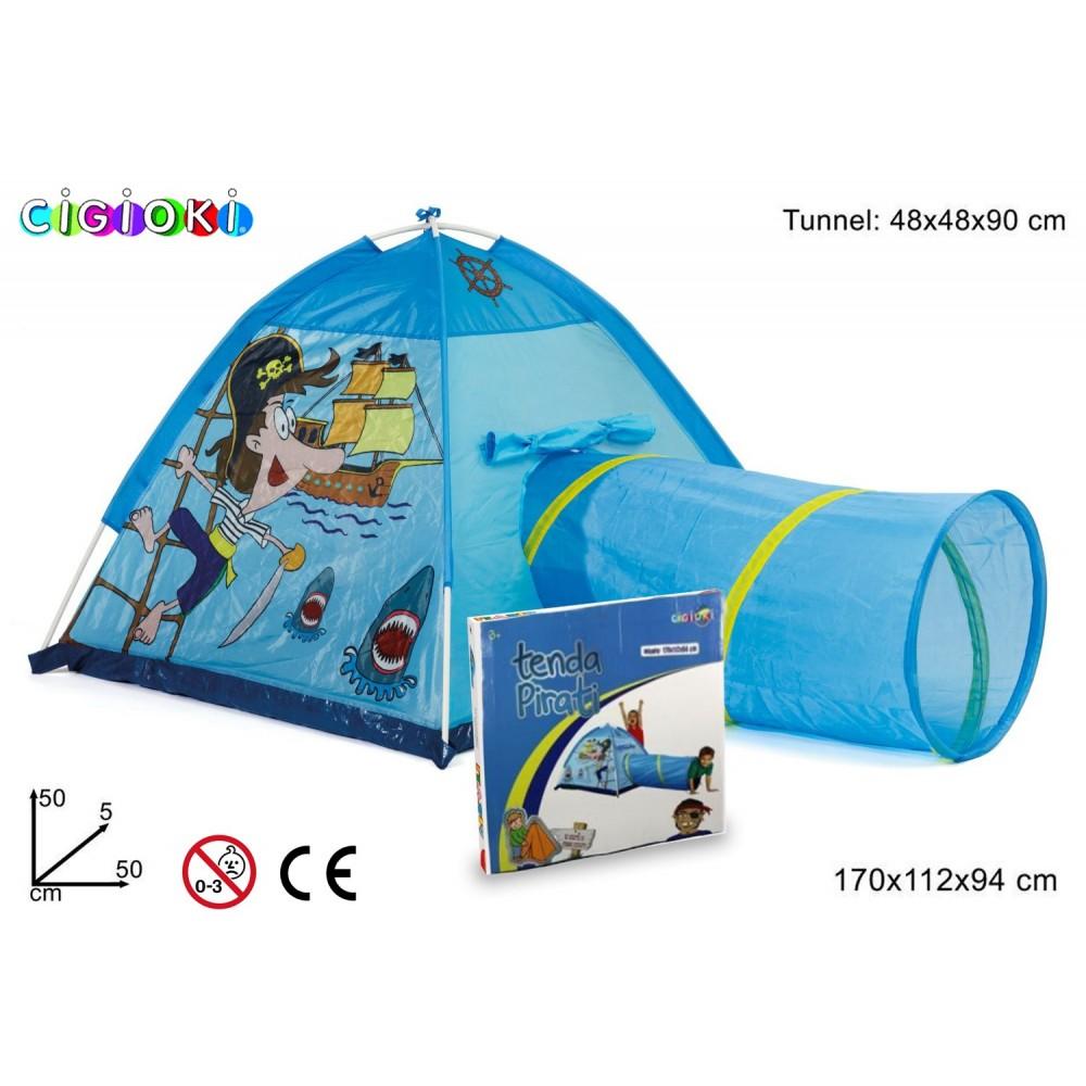 Tenda da gioco dei pirati 170x112x94 cm con tunnel pop up per bambini Linea Cigioki