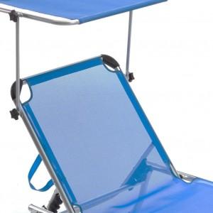 Image of Lettino prendisole Q.BO in alluminio con parasole mod. SAPRI in Textilene 8435524515402