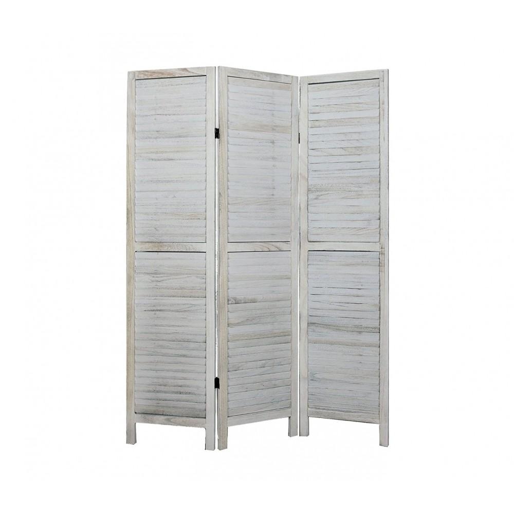 Separè paravento 394465 mod. Classico in legno bianco antichizzato
