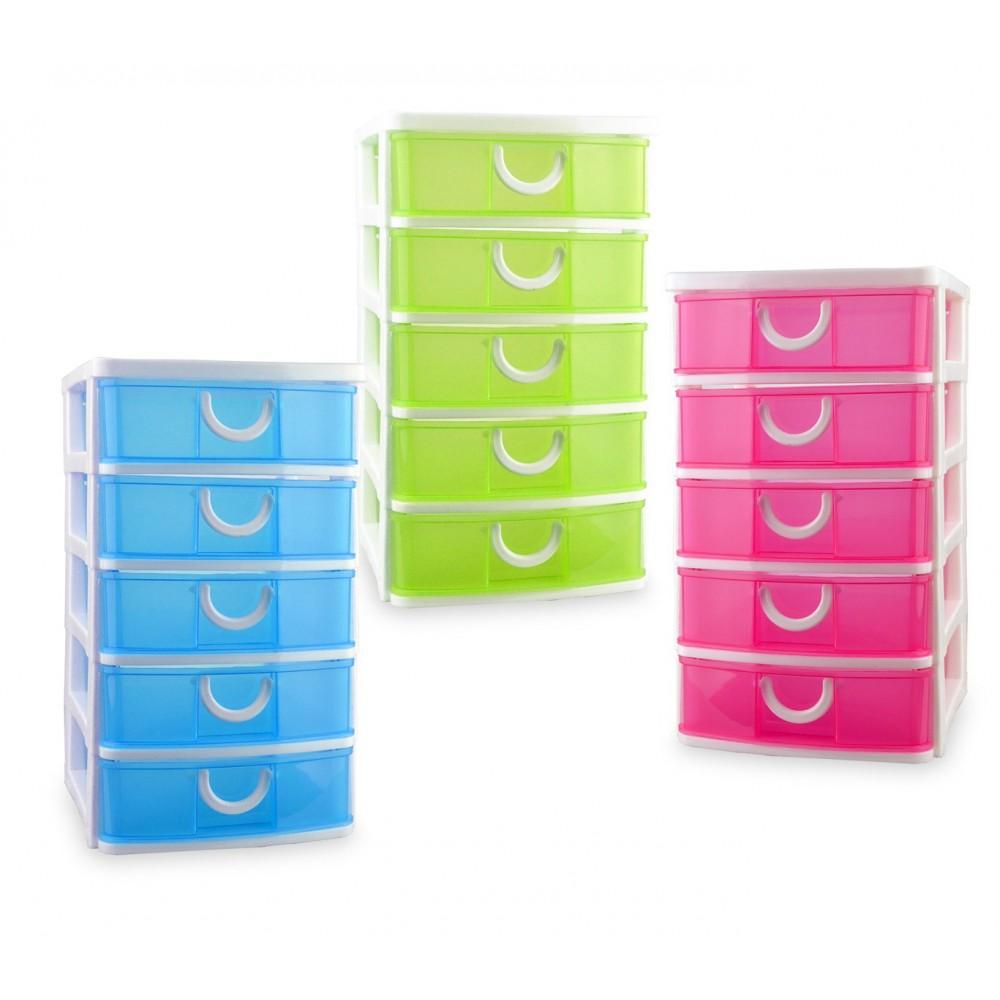 Cassettiere E Contenitori Di Plastica.Cassettiera A 5 Piani 391570 In Plastica Rigida Colorbox Colorata