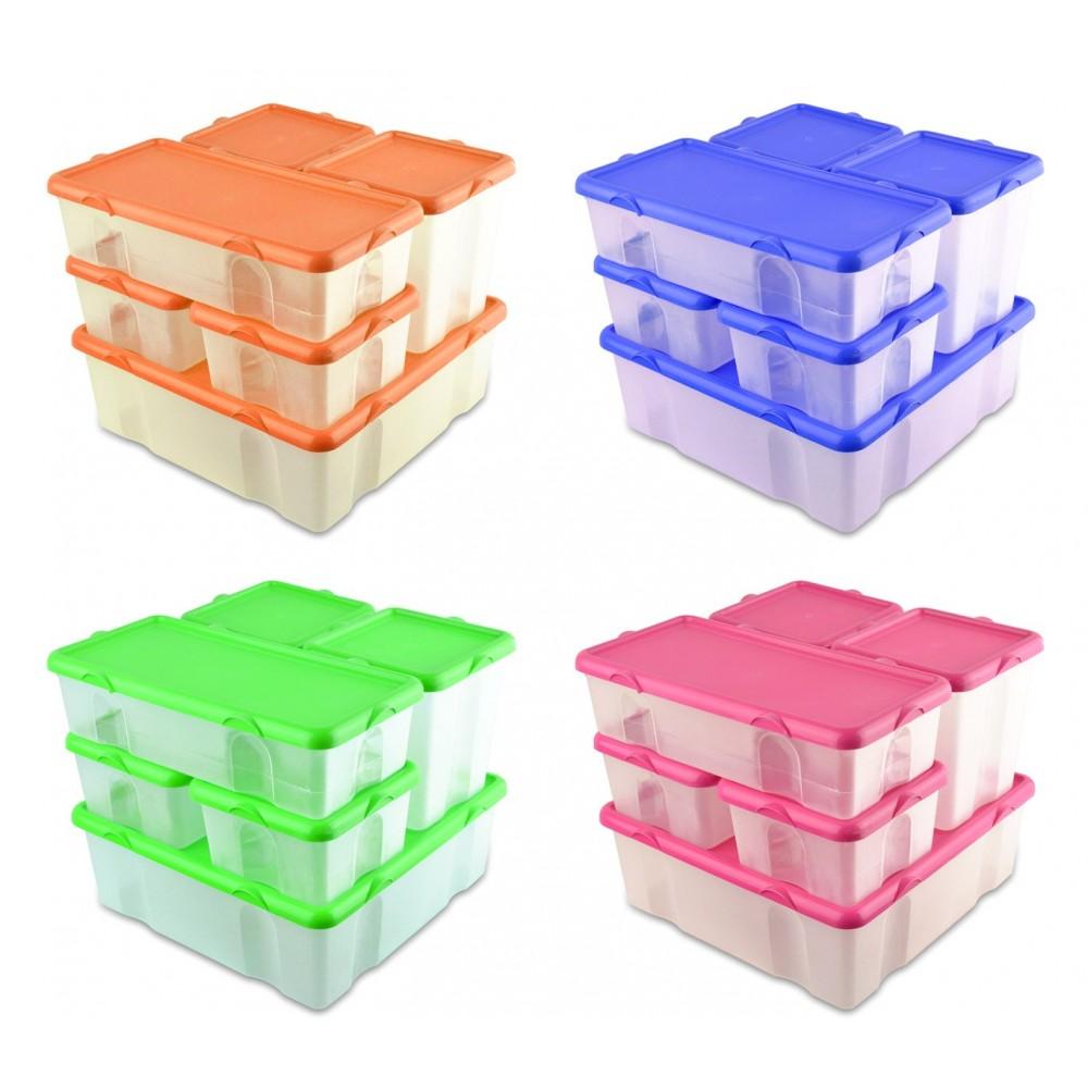 Set 6 contenitori in plastica FRESH BOX varie misure 073896 coperchi ermetici