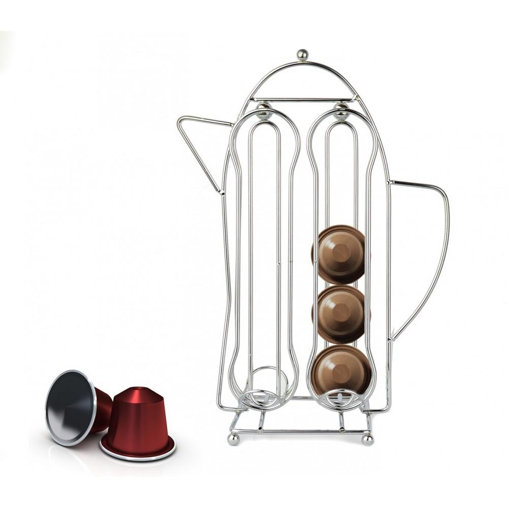 Portacapsule a forma di caffettiera WELKHOME 365977 in metallo 16 posti