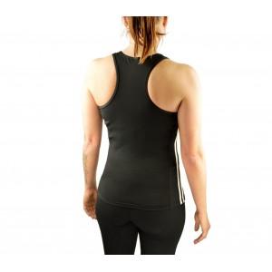 Canotta donna running in tessuto traspirante KZ-359 fitness con strisce laterali