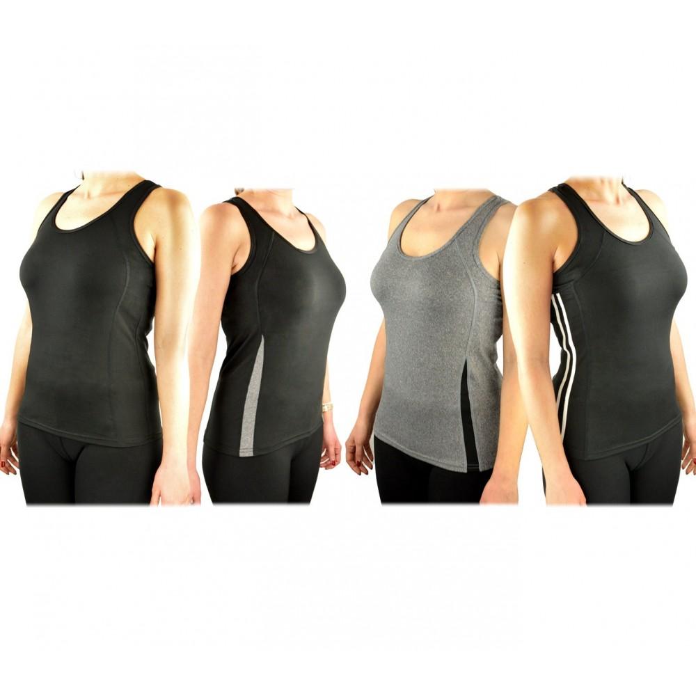 Pack di 4 Canotte da donna running in tessuto traspirante per fitness e sport