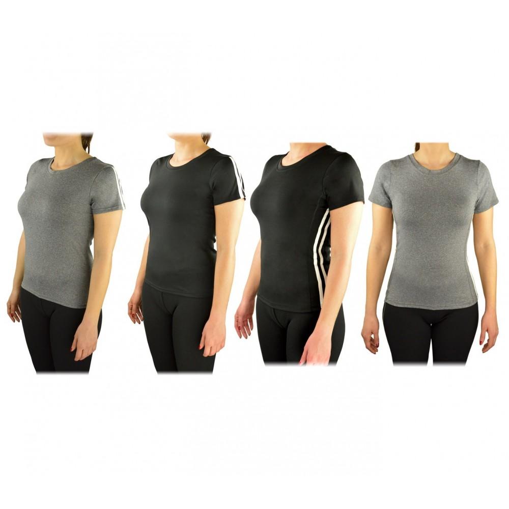 Pack di 4 maglie sportive da donna running in tessuto traspirante per fitness