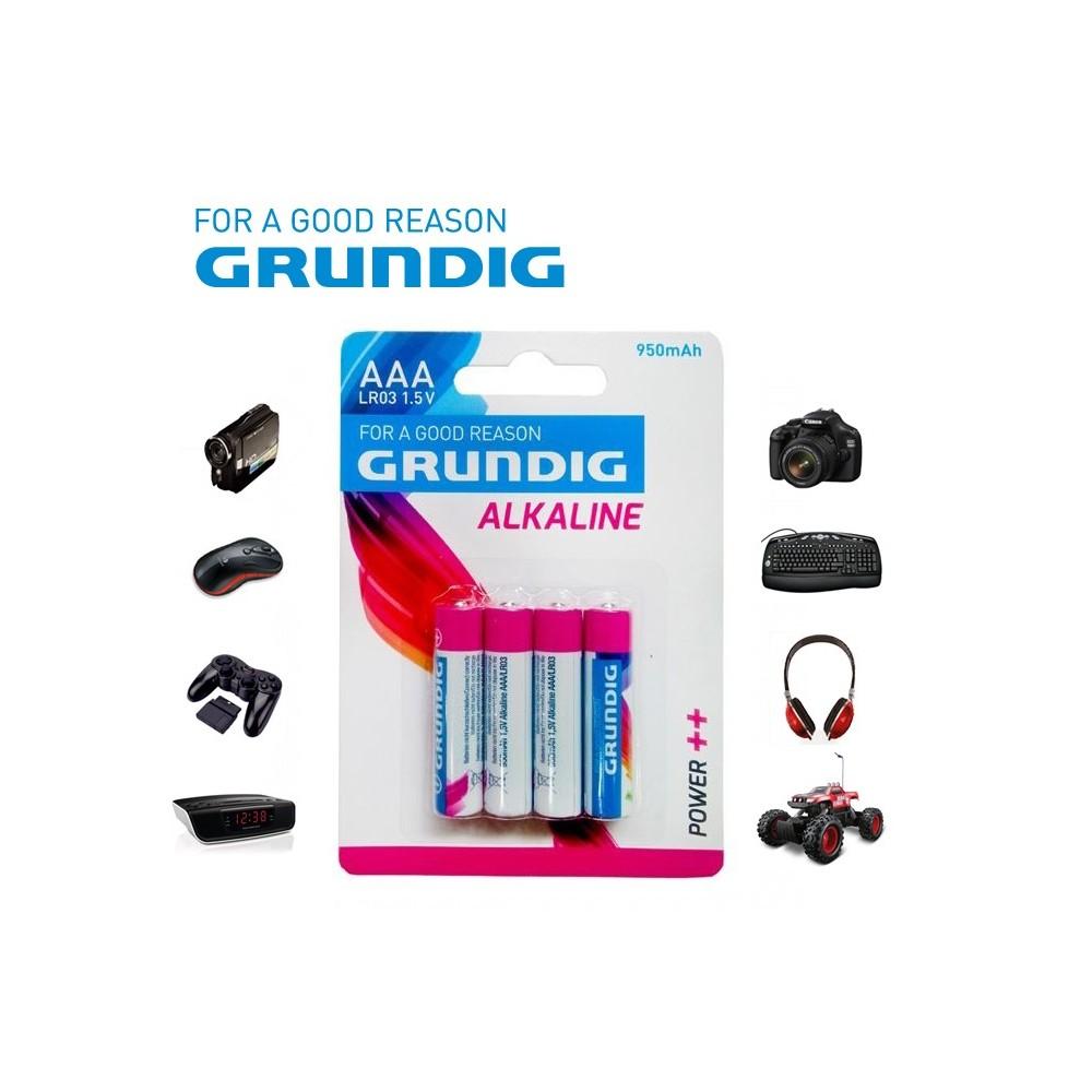 Mini stilo Grundig alcaline AAA LR03 1.5V 950 mAh confezione da 4 batterie