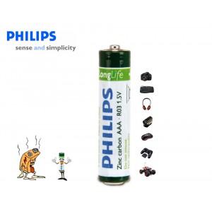 Pack da 16 mini stilo Philips Long Life formato AAA R03 1.5V Zinc Carbon confezione risparmio da 16 pile AAA