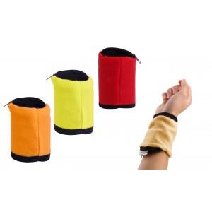 Polsino tergisudore portamonete con tasca in microfibra e cerniera