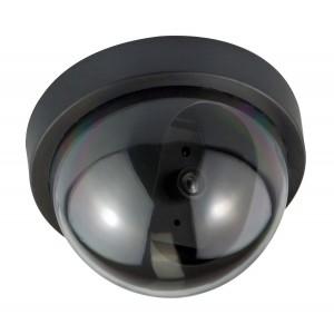 Telecamera finta a cupola dome nera led lampeggiante videosorveglianza antifurto