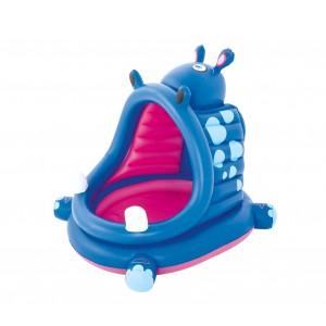 Image of Piscina ippopotamo BESTWAY 52218 con fondo gonfiabile e copertura 112x99x97 cm 6942138934731