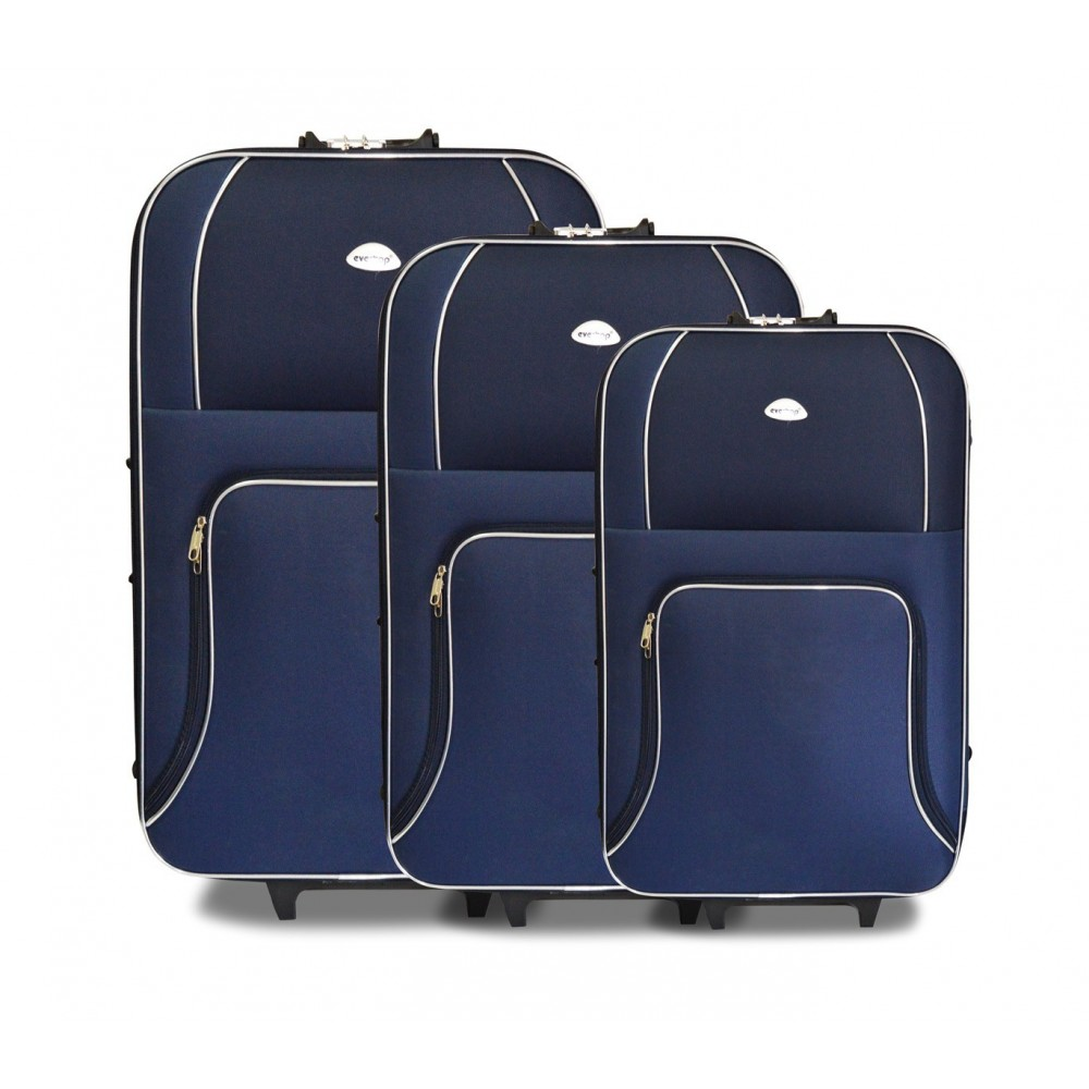 Set 3 Trolley 383496 EVERTOP tessuto semirigido BLU NAVY con combinatore 2 ruote