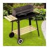 Barbecue a carbonella rettangolare 58x33x68 cm BBQ acciaio e legno con ruote