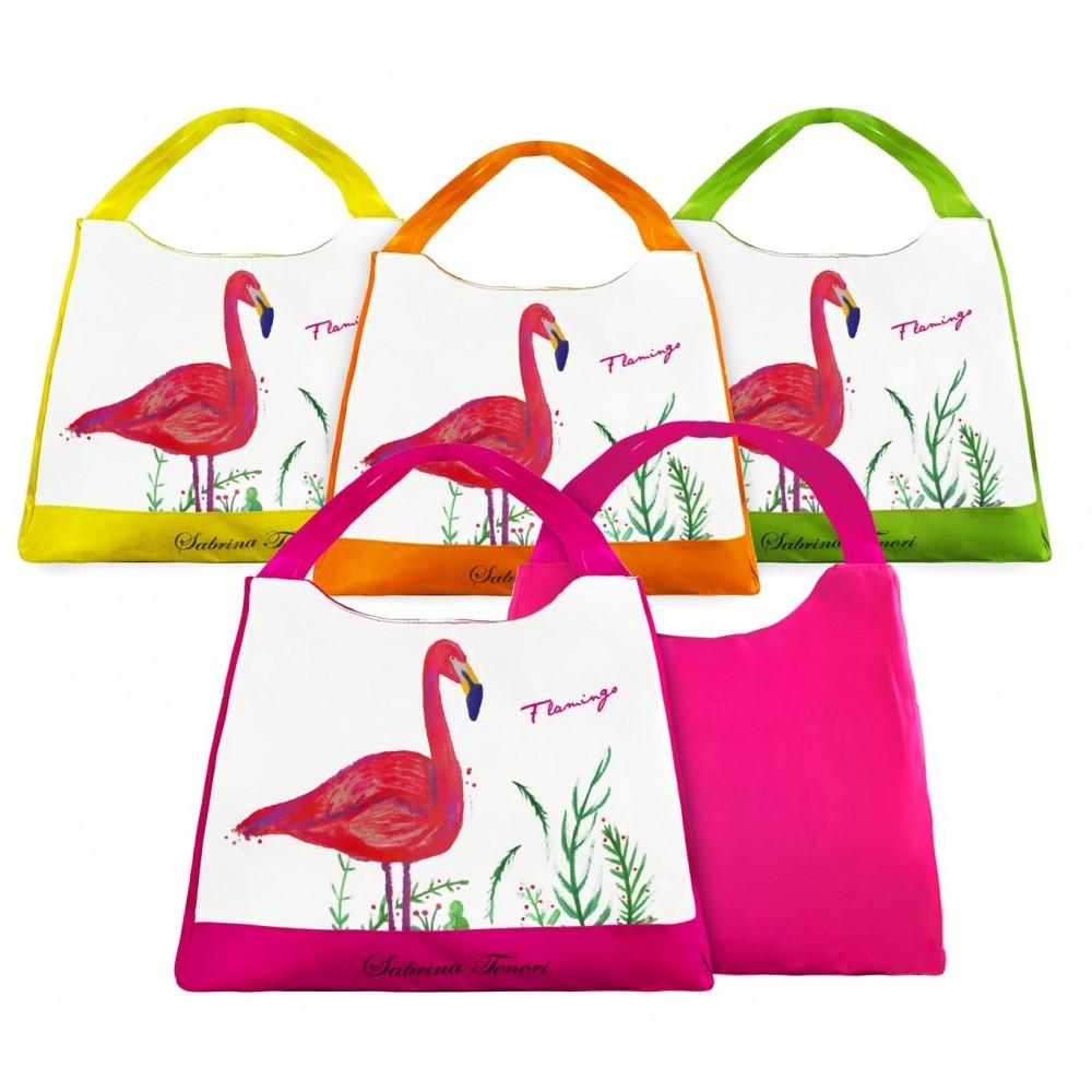 Borsa mare Sabrina Tenori 424117 Flamingo con fasce colorate doppio manico
