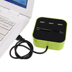 Lettore schede card reader con hub 3 porte USB 2.0 legge sd, TF, M2, MS card