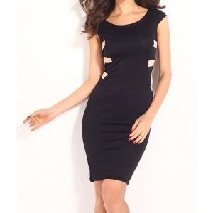 Image of Vestitino aderente nero retro striscie beige mod. Solana tubino Mws AHEAD fashion 8125478558005