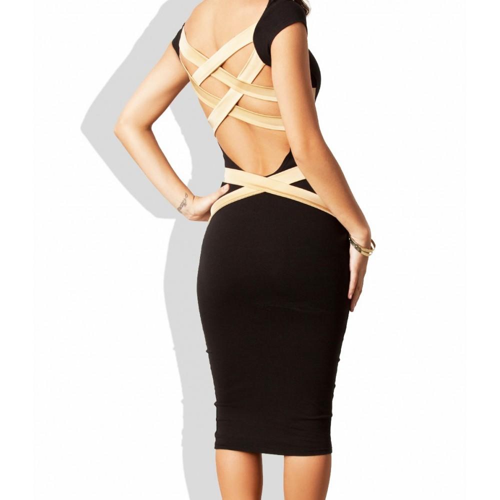 Vestitino aderente nero retro striscie beige mod. Solana