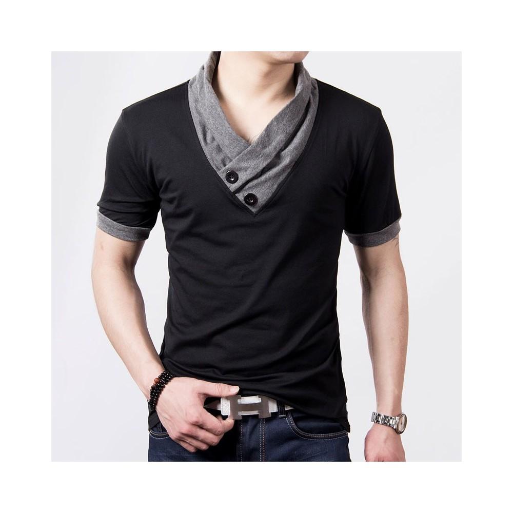 T-shirt collo sciallato mod Hals maglia mezza manica colori contrasto  MWS AHEAD con bottoni