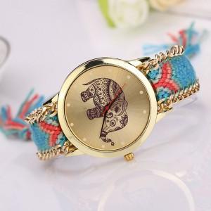 Orologio SUMMER colorato con stampa elefante portafortuna e cinturino in tessuto intrecciato vari colori