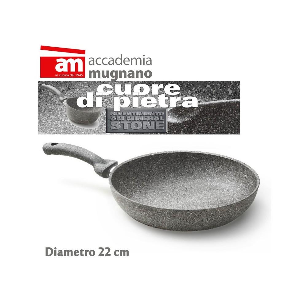 Padella antiaderente in pietra 22 cm Accademia Mugnano Linea CUORE DI PIETRA Mineral Stone