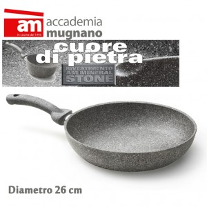 Padella antiaderente in pietra 26 cm Accademia Mugnano Linea CUORE DI PIETRA Mineral Stone