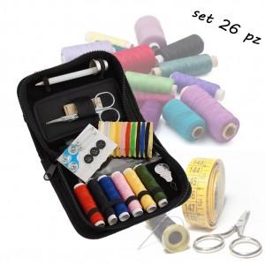 Image of Set pronto cucito 26 pezzi con pochette da viaggio portatile per piccoli aggiusti sartoriali 8016584523431