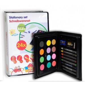 Cofanetto pittura bimbi  acquarelli  pastelli cera per colorare e disegnare 24 pezzi