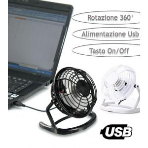 Mini ventilatore usb da tavolo con rotazione a 360° e tasto di accensione