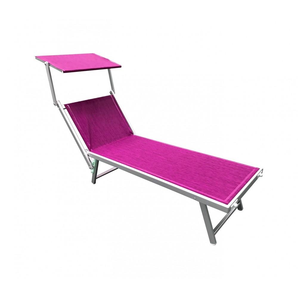 Lettino prendisole alluminio con parasole LUXURIOUS Beach 180X60X40 cm