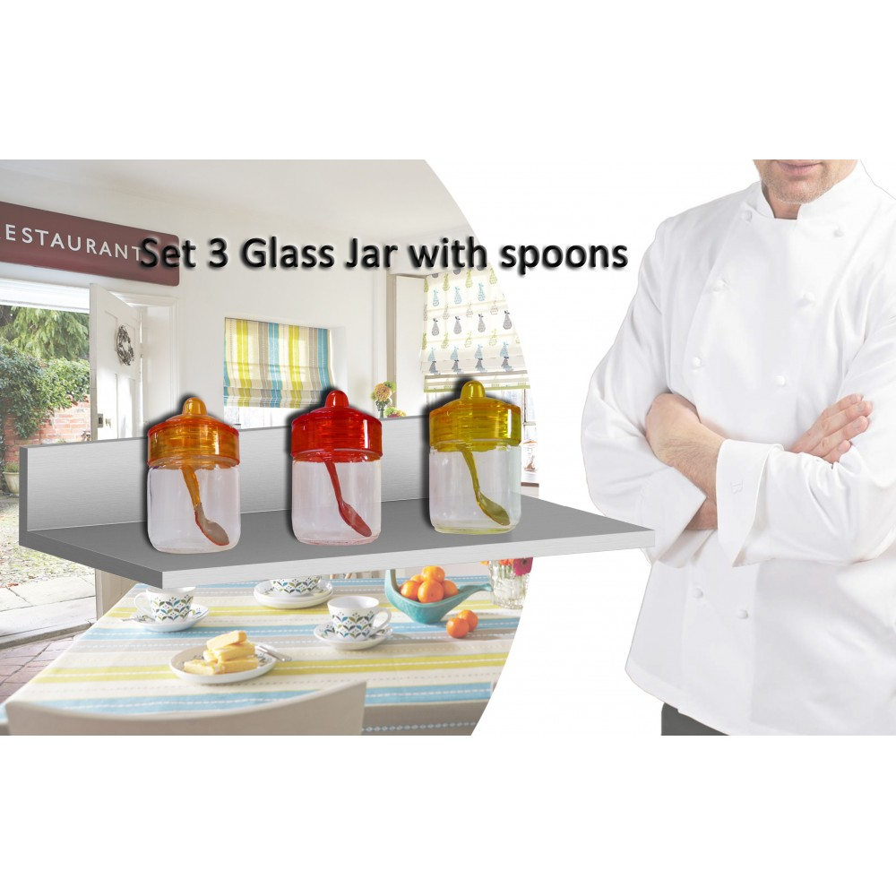 Set 3 contenitori vetro tappi COLORATI 6,5X11 cm 200 ml coperchio e cucchiaio colorato barattoli porta spezie