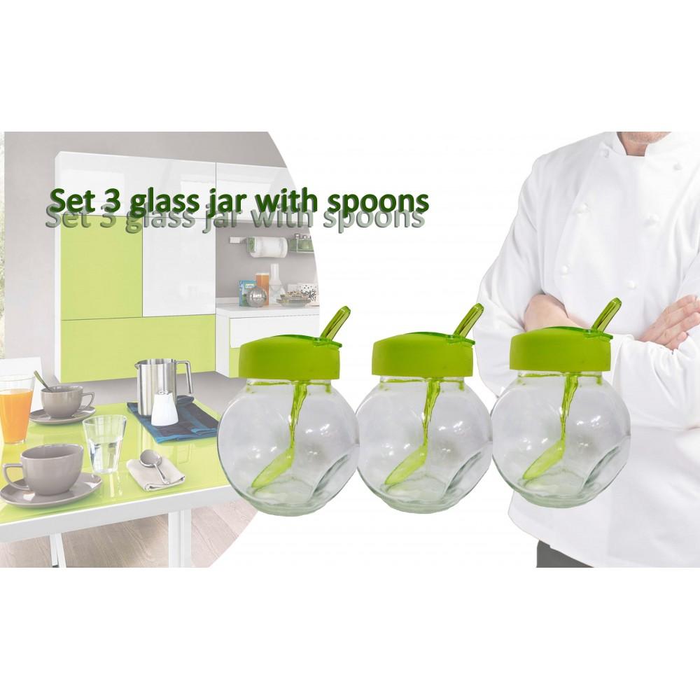 Set 3 contenitori vetro tappo vari colori 6 X 8 X 9 cm 200 ml coperchio e cucchiaio barattoli porta spezie