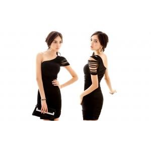 Vestitino abito da sera monospalla Tiffany Dress effetto seta vestito elegante