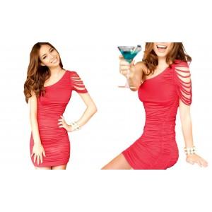 Image of Vestitino abito da sera monospalla Tiffany Dress effetto seta vestito elegante 8023677900758
