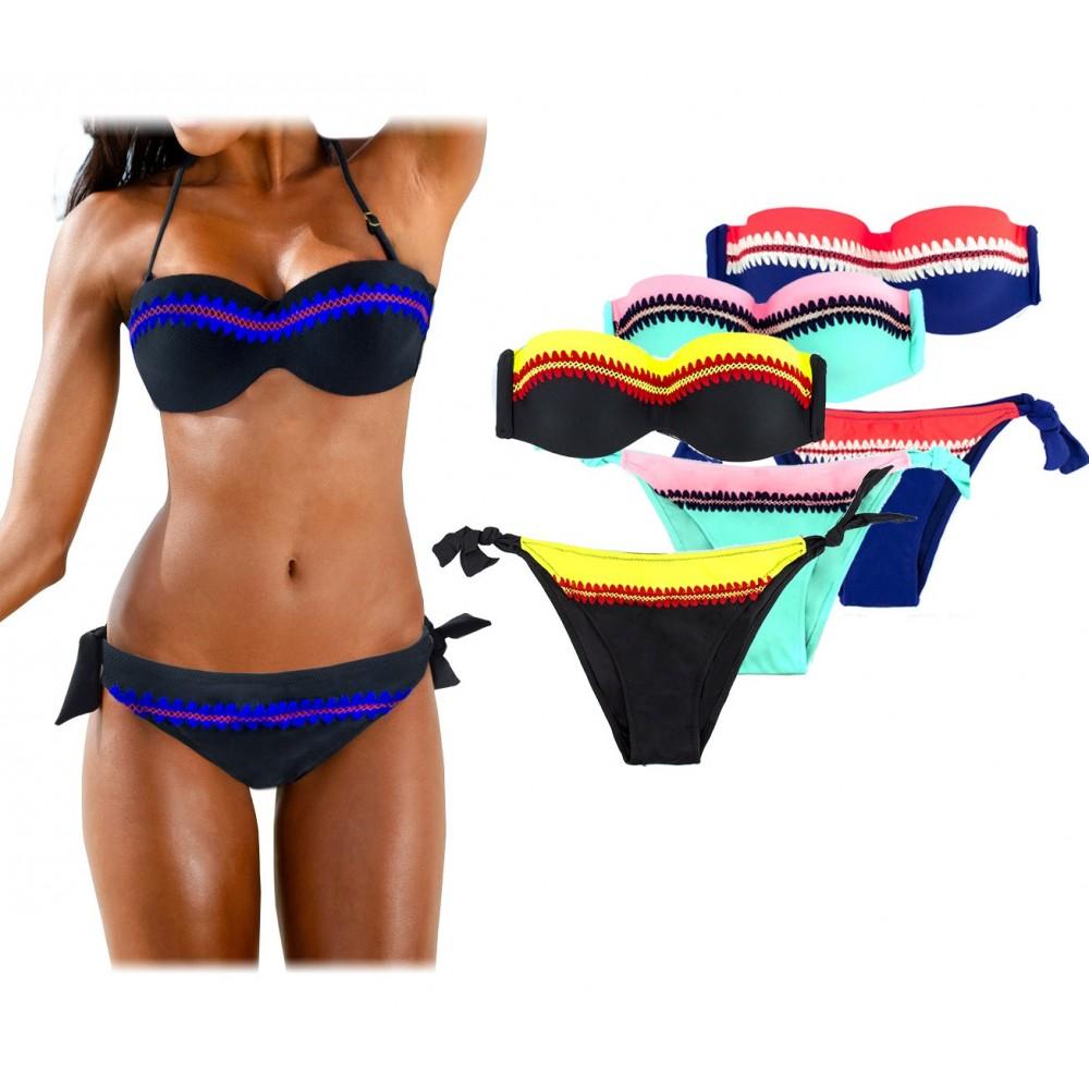 Costume CY9923 bikini mod. Aurora coppe imbottite Hello Bikini dettagli ricamati