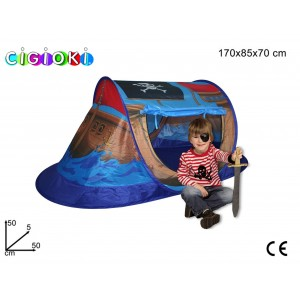 Tenda da gioco rettangolare a forma di nave dei pirati per bambini 127x72x72 cm