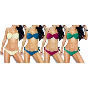 Costume a fascia bikini mod Vertigo coppa imbottita con rouches swimwear