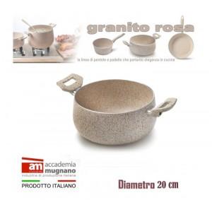 Image of Casseruola alluminio 20 cm doppio manico Natural Stone effetto pietra Accademia Mugnano Linea GRANITO ROSA 8010111036272