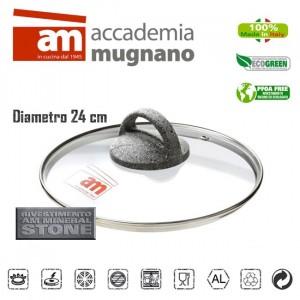 Image of Coperchio in vetro 24 cm Accademia Mugnano Linea CUORE DI PIETRA Mineral Stone 8435524508503