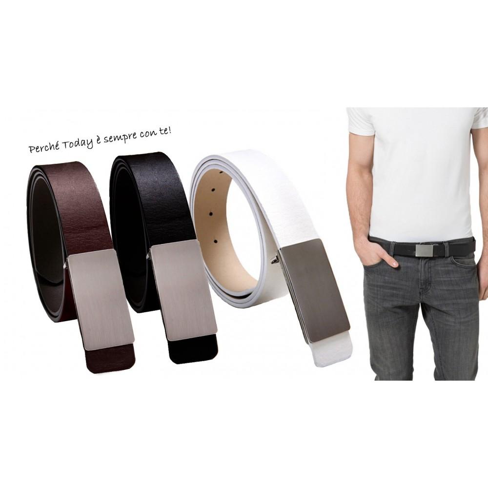Cintura MWS AHEAD modello Today in cuoio diverse varianti con fibbia in argento satinato