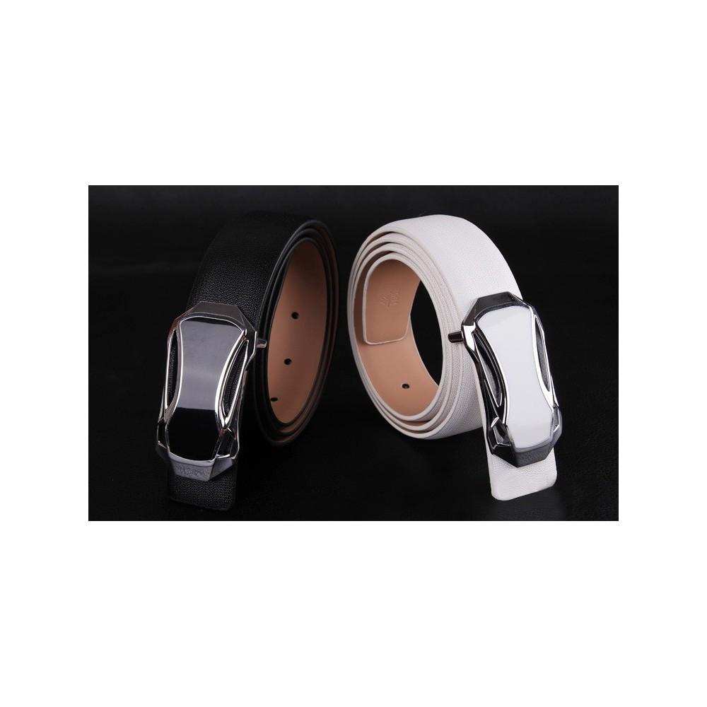 Cintura uomo MWS AHEAD Anyway in cuoio fibbia a gancio a forma di auto argentata