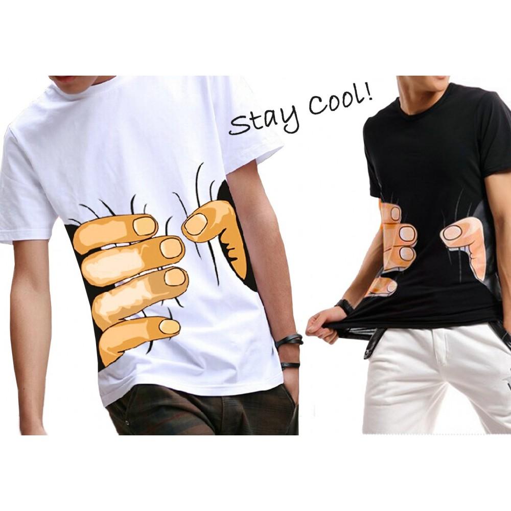 T-shirt girocollo SQUEEZE HAND da uomo funny shirt a mezza manica e stampa effetto 3D