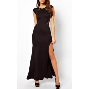 Abito lungo con inserti in pizzo  Leasy Black vestito  spacco LATERALE sexy elegante MWS COMPANY