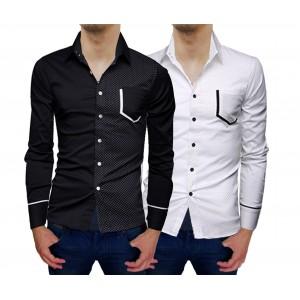 Camicia da uomo MWS Ahead mod Prince Slim Fit manica lunga bottoni tono a contrasto