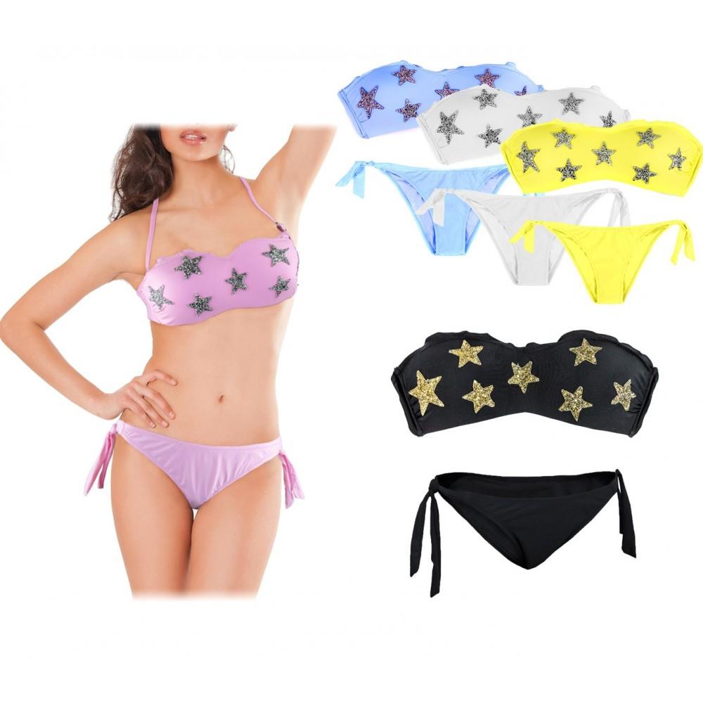 Costume DW8861 bikini a fascia mod. LYCIA con dettagli ruches