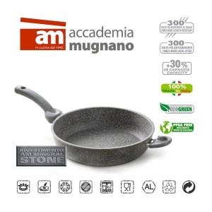 Tegame alto 1 manico 1 maniglia semi fondo 28 cm rivestimento antiaderente in pietra Accademia Mugnano Linea CUORE DI PIETRA