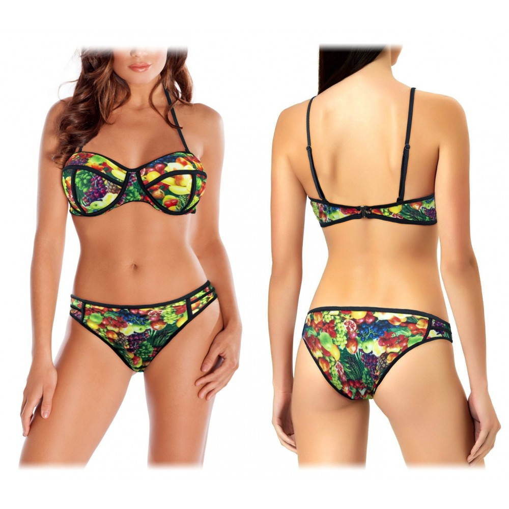 Costume G1662 bikini mod. FRUIT fantasie di frutta e coppe imbottite